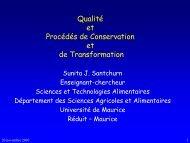 Qualité et Procédés de Conservation et de Transformation