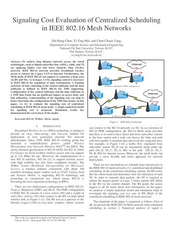 Signaling Cost Evaluation of Centralized Scheduling in IEEE 802.16 ...