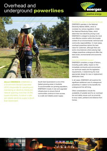 Overhead and Underground Powerlines Fact Sheet - Energex