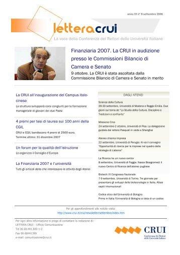 Finanziaria 2007. La CRUI in audizione presso le Commissioni ...