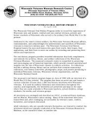 WISCONSIN VETERANS ORAL HISTORY PROJECT Wisconsin ...