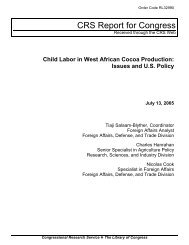 Child Labor in West African Cocoa Production: Issues and U.S. Policy