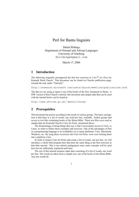 Perl for Bantu linguists