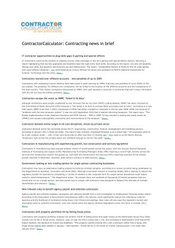 Contracting news in brief - Contractor Calculator