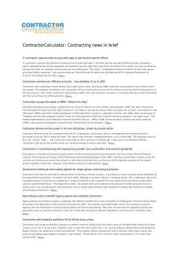 Contracting news in brief - Contractor Calculator