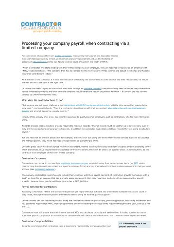 Processing your company payroll when contracting via a limited ...