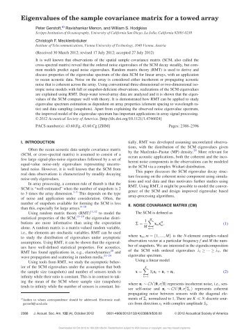 Eigenvalues of the sample covariance matrix for a towed array