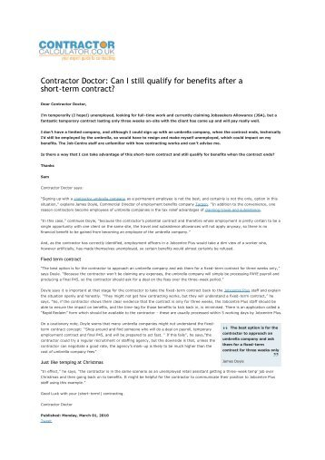 Can I still qualify for benefits after a short-term contract? - Contractor ...