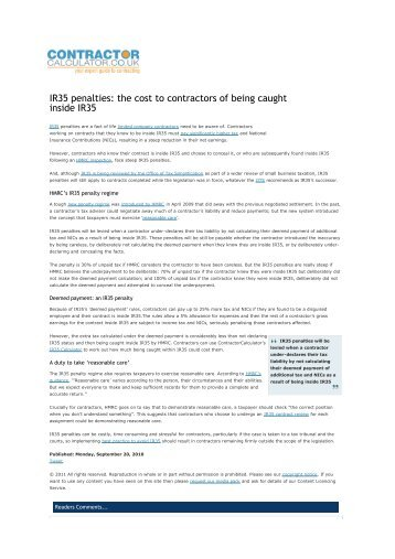IR35 penalties: the cost to contractors of being caught inside IR35