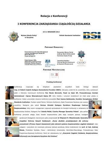 Relacja z I Konferencji Zarządzania Ciągłością Działania 10-11 ...
