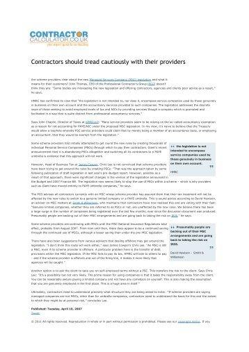 Contractors should tread cautiously with their providers