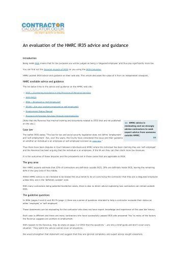 An evaluation of the HMRC IR35 advice and guidance - Contractor ...
