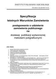 specyfikacja istotnych warunków zamówienia - Instytut Filozofii i ...