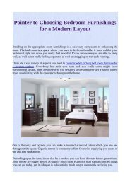Pointer to Choosing Bedroom Furnishings for a Modern Layout