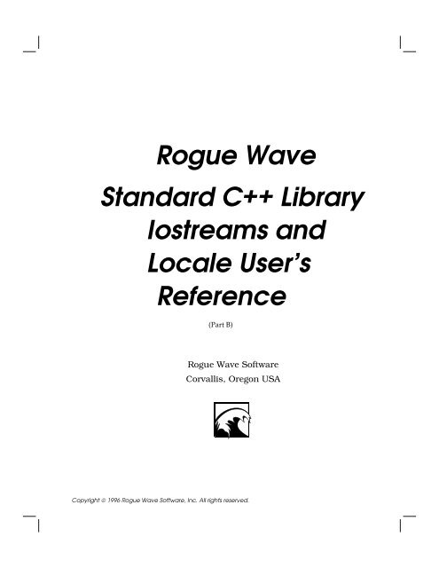 Standard C++ Library Iostreams & Locale User's Reference