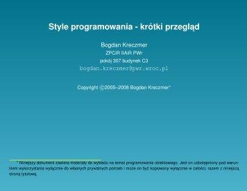 Style programowania - krótki przeglad