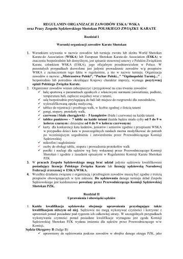 Regulamin zapisany w pliku PDF - Polski Związek Karate