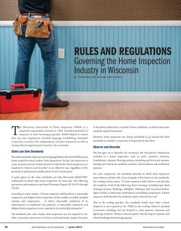 Wisconsin Real Estate Magazine - Professional Home Inspection