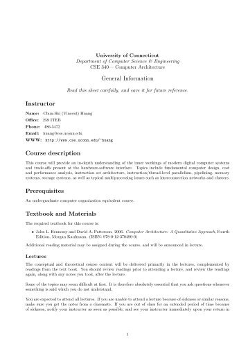 General Information Instructor Course description Prerequisites ...