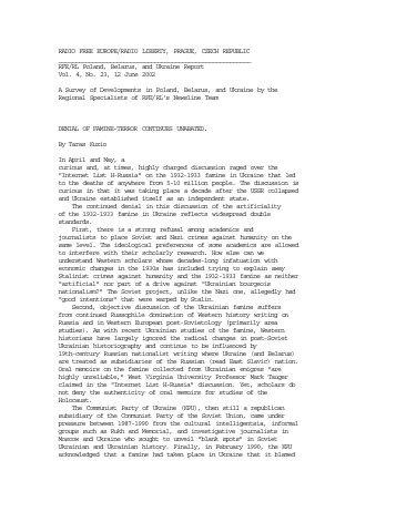 RFERL Poland, Belarus and Ukraine Report, 12 June ... - TarasKuzio