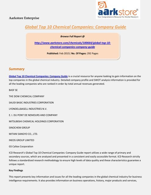 Aarkstore com - Global Top 10 Chemical Companies: Company Guide