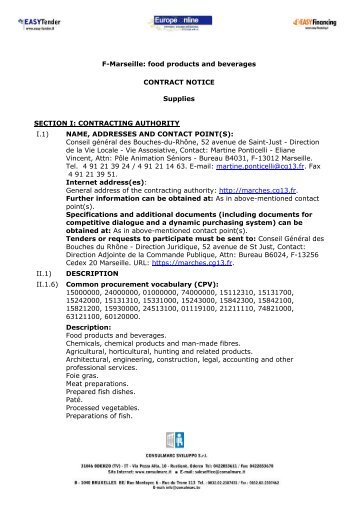 F-Marseille: food products and beverages CONTRACT NOTICE ...