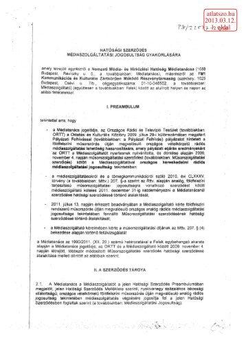 Az NMHH Médiatanács és az FM1 Zrt. szerződését ... - atlatszo.hu