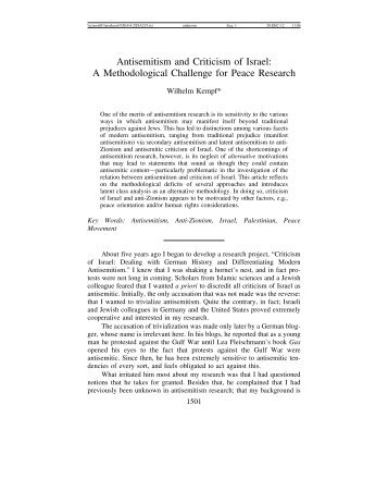 Antisemitism and Criticism of Israel - Journal for the Study of ...