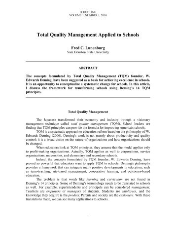 Total Quality Management Applied to Schools - National Forum Journals
