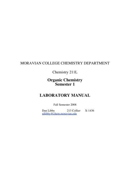 Organic Chemistry Semester 1 LABORATORY MANUAL - Moravian ...
