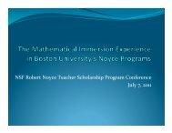 PROMYS for Teachers - The Robert Noyce Scholarship Program