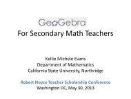 GeoGebra for Secondary Mathematics Teachers (pdf of Presentation)