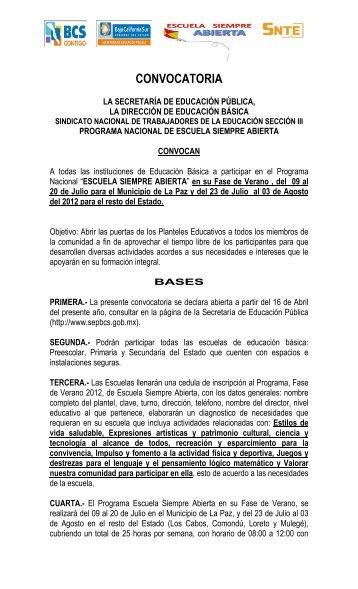 convocatoria verano 2012 - Secretaria de Educación Pública Baja ...