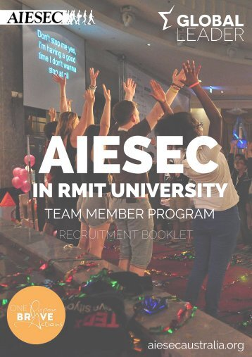 AIESEC in RMIT Team Member Program Recruitment Booklet