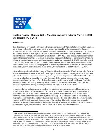 FINAL - Western Sahara Human Rights Report (March 2014 - December 2014)