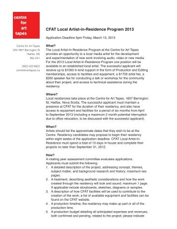 CFAT Local Artist-in-Residence Program 2013 - Centre for Art Tapes