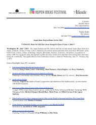 AIF 2011 Wrap Press Release—UPDATED - Aspen Ideas Festival