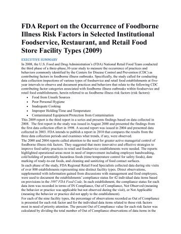 FDA Report on the Occurrence of Foodborne Illness Risk Factors in ...