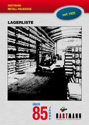 LAGERLISTE - W.Hartmann & Co.