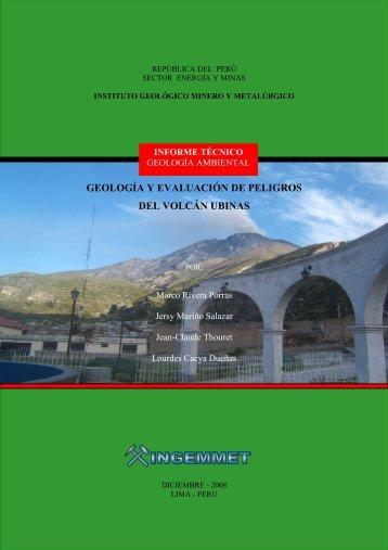 geología y evaluación de peligros del volcán ubinas - Ingemmet