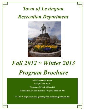 Fall 2012 ~ Winter 2013 Program Brochure - Town of Lexington