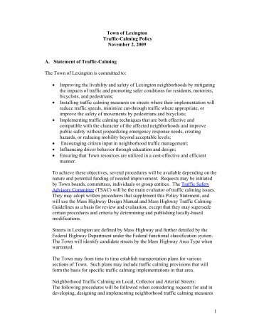 Traffic Calming Policy - Town of Lexington