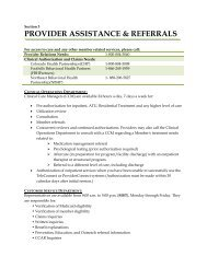 PROVIDER ASSISTANCE & REFERRALS - NBH Partnership
