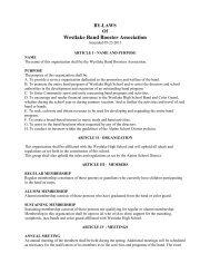 WHS Booster Bylaws - Westlake Thunder Bands