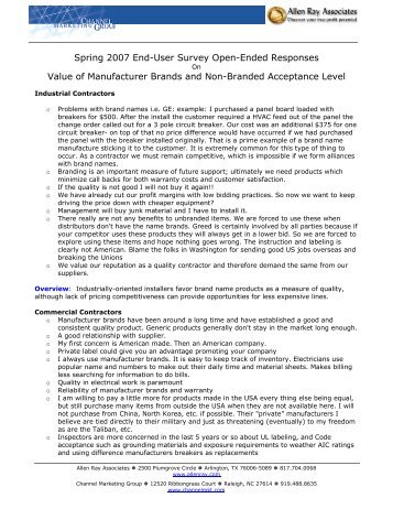 Direct Feedback from Contractors Regarding Private Label Brands