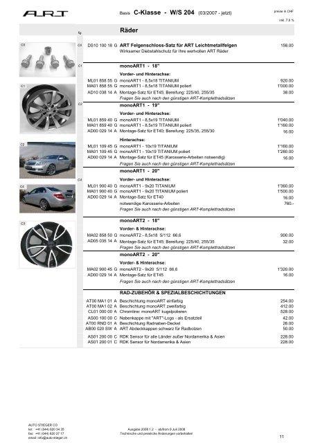 Räder Basis C-Klasse - W/S 204 (03/2007 - jetzt) - Auto-Stieger