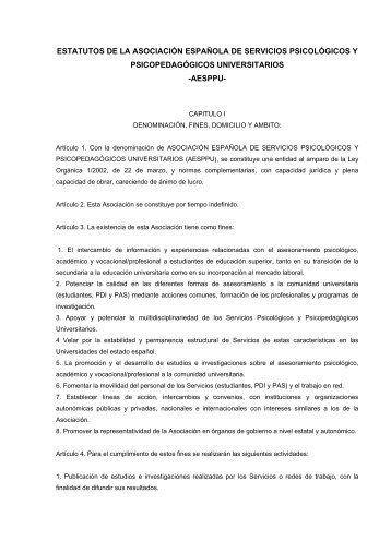 estatutos de la asociación española de servicios psicológicos y ...