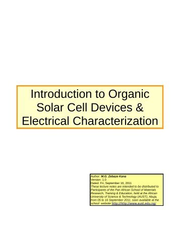 Introduction to Organic Solar Cell Devices & Electrical ...