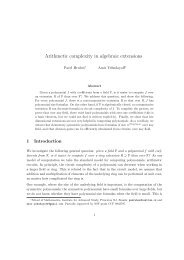 Arithmetic complexity in algebraic extensions - IAS - Institute for ...