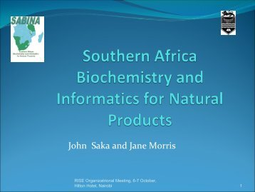 SABINA: Southern African Biochemistry and Informatics - Science ...